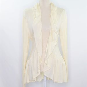 Guinevere Ivory Cashmere Blend Ruffled Cardigan